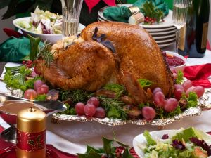 Party table with a roast turkey