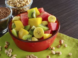Salad with mango, kiwi, watermelon and banana