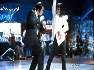"Vincent Vega (John Travolta) and Mia Wallace (Uma Thurman) dancing in ""Pulp Fiction"""