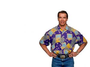 Arnold Schwarzenegger in jeans and shirt