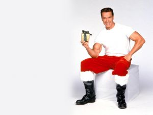 Arnold Schwarzenegger dressed as Santa Claus