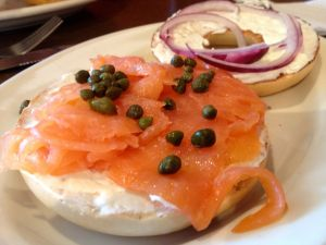 Bagel with smoked salmon and capers