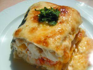 Lasagna of fish and prawns