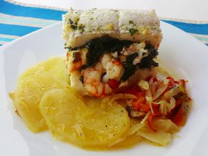 Hake fillet stuffed with prawns and spinach