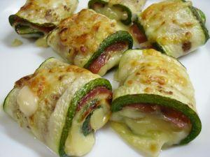 Zucchini rolls stuffed with cheese