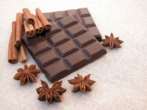 Chocolate tablet, cinnamon and star anise