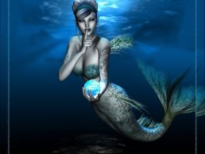A beautiful mermaid calling for silence