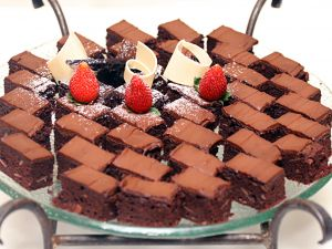 Platter with chocolate cakes