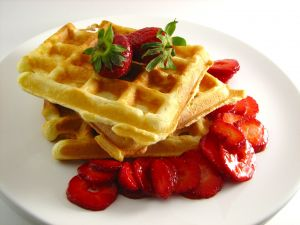Waffles with natural strawberries