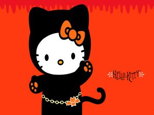 Hello Kitty with a Halloween costume