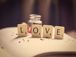 Chips with letters forming the word LOVE