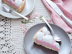 Cake with strawberry cream and cream