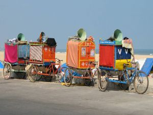 Bikes with carts of a street theater company (Chennai, India)