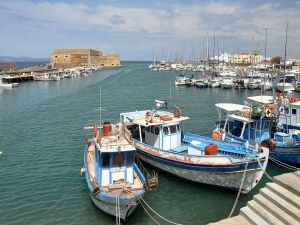 Fishing boats on the north coast of Crete (Greece)