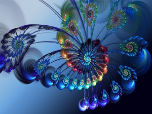 Spiral of fractal feathers
