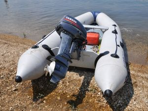 Inflatable boat with Yamaha engine