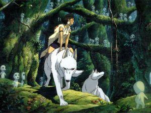 The princess Mononoke mounted on a big white wolf