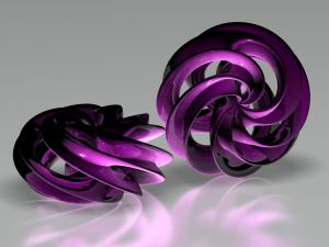 Purple semispherical objects