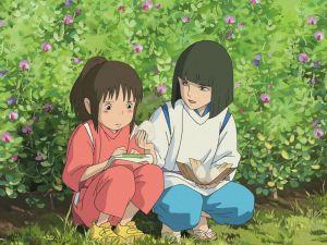 Haku offering food to Chihiro