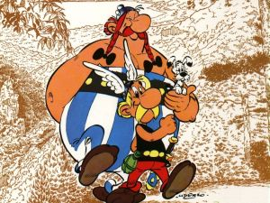 Asterix and Obelix with his puppy Dogmatix