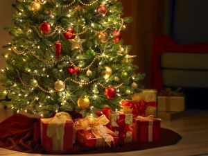 Gifts at the foot of the Christmas Tree