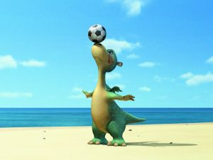 Impy the dinosaur with a soccer ball