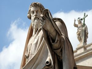 Statue of St. Paul, in front of St. Peter's Basilica, in Vatican City