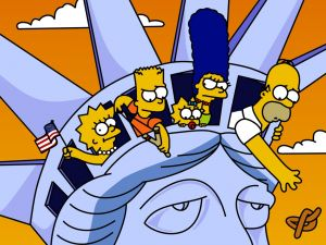 The Simpsons at the Statue of Liberty