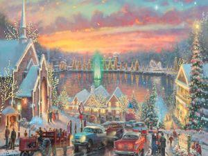 """""""Lights of Christmastown"""" by Thomas Kinkade"""