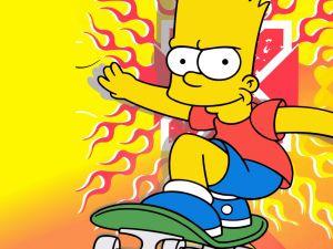 Bart Simpson on his skateboard