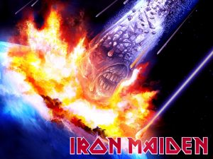 Eddie's head like a meteorite (Iron Maiden)