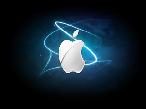 Apple logo with blue lines