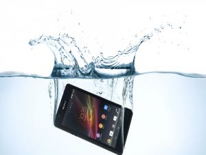 A smartphone Sony in water
