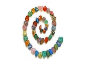 Spiral of colored stones
