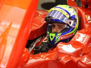 The Brazilian driver Felipe Massa in his Ferrari car