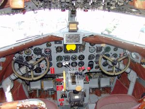 Cockpit of a Douglas DC-3 with the flight instruments