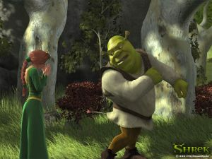 Shrek with an arrow in the butt
