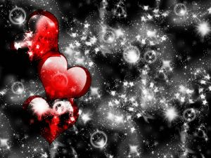 Red hearts in the sky