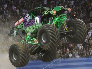 Grave Digger jumping in the air