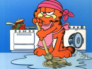 garfield doing the housework wallpaper 10666