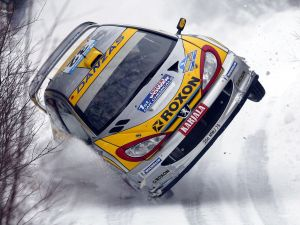 Juuso Pykälistö (Finland) in his Peugeot 206 WRC during the Rally of Sweden