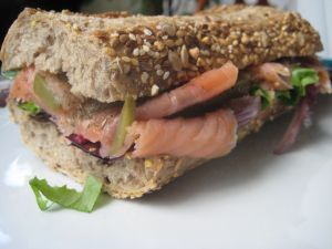 Delicious smoked salmon bocadillo
