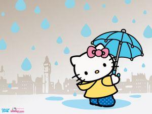 Hello Kitty under the rain