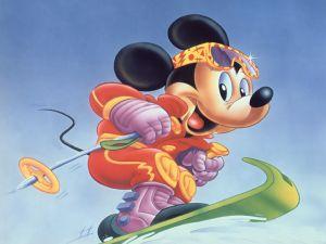 Mickey snowboarding
