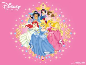 Disney Princesses with their pretty dresses