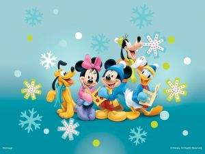 Mickey Mouse and his friends in winter