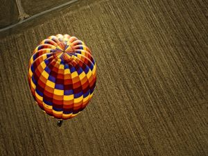 Balloon flying over a field
