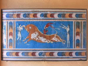 Fresco of the bull of the Minoan palace of Knossos, on the Greek island of Crete