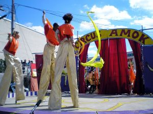 Circus stilt walkers in the New York City