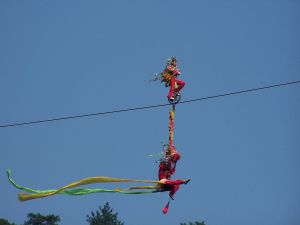 Circus acrobats on the wire